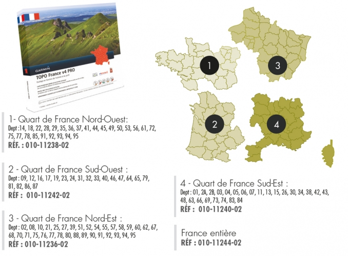 CARTE TOPOGRAPHIQUE GARMIN QUART DE FRANCE SUD-OUEST