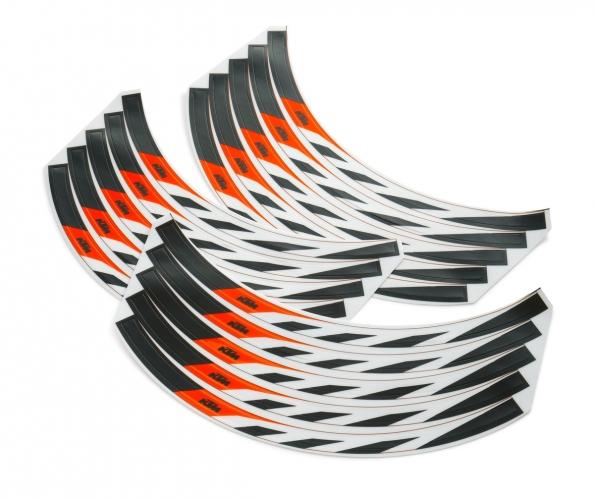 JEU STICKERS JANTE NOIR/ORANGE/BLANC KTM 21/18-19 POUCES KTM SX/EXC/690 ENDURO/R 08-20