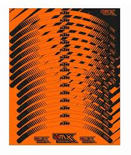 JEU STICKERS JANTE STYLE ORANGE FLUO KTM SX/EXC