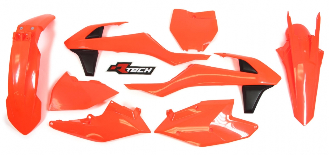 KIT PLASTIQUE RACETECH ORANGE FLUO KTM 125/150 SX 16-17/ 250 SX 17/ SX-F 16-17