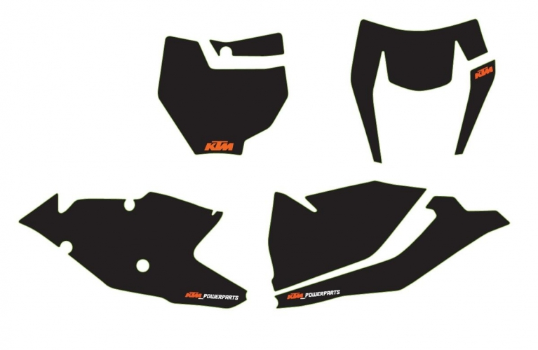 KIT STICKERS PLAQUE NUMERO KTM EXC 17-18/ 125/150 SX 16-18/ SX-F 16-18/ 250 SX 17-18
