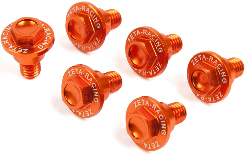 PACK 6 VIS BAS FOURCHE ZETA ORANGE KTM SX/EXC 00-16