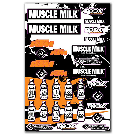 planche de stickers ktm muscle milk mdk